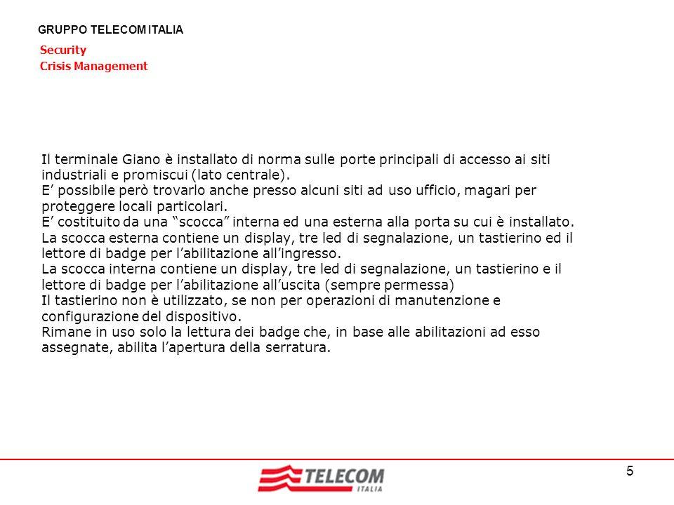 5 GRUPPO TELECOM ITALIA Security Crisis Management Il terminale Giano è installato di norma sulle porte principali di accesso ai siti industriali e pr
