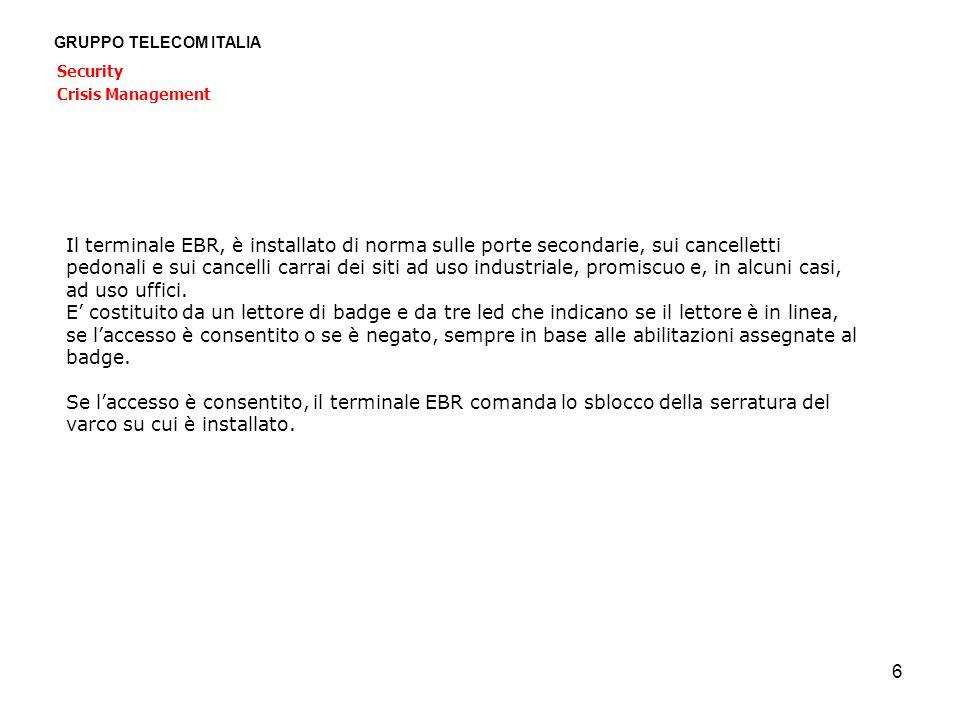 6 GRUPPO TELECOM ITALIA Security Crisis Management Il terminale EBR, è installato di norma sulle porte secondarie, sui cancelletti pedonali e sui canc