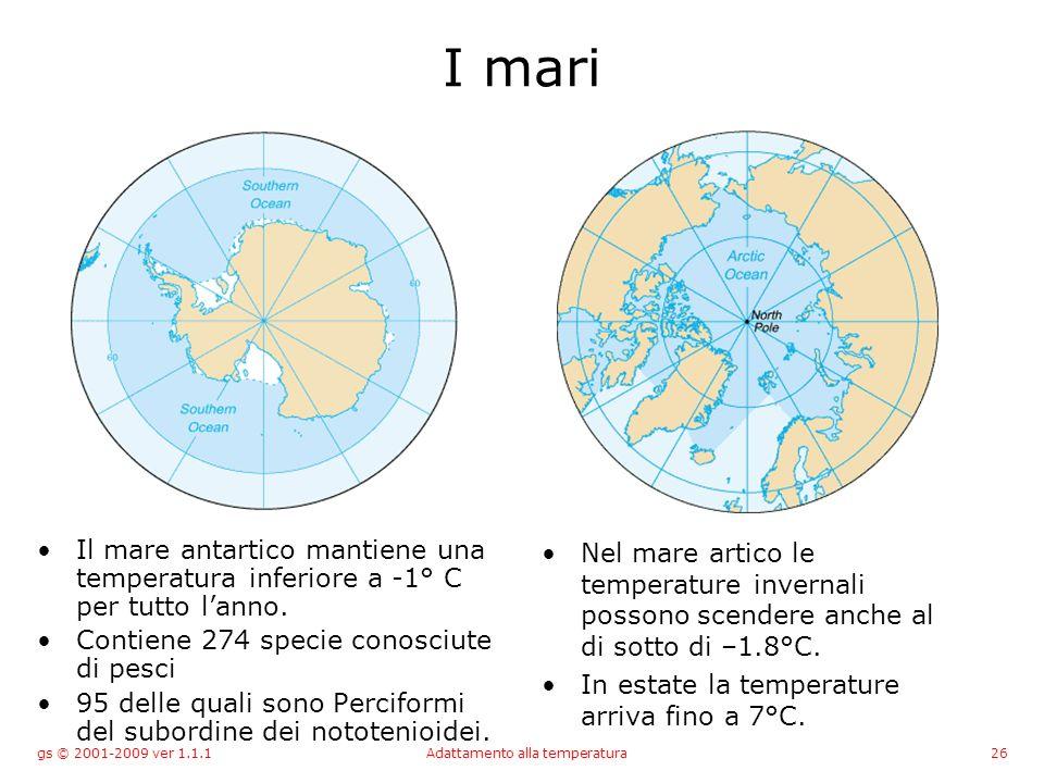 gs © 2001-2009 ver 1.1.1Adattamento alla temperatura26 I mari Il mare antartico mantiene una temperatura inferiore a -1° C per tutto lanno.