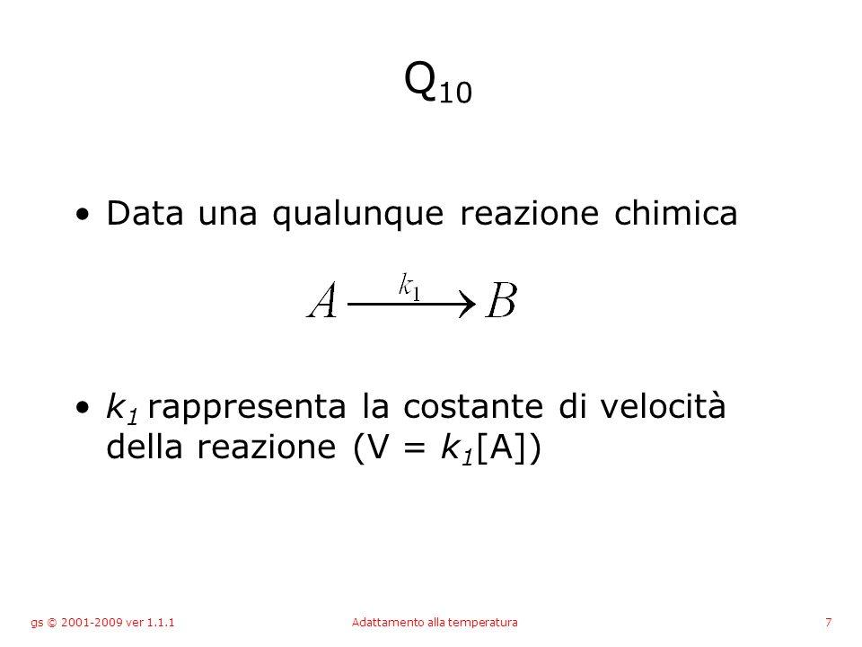 gs © 2001-2009 ver 1.1.1Adattamento alla temperatura8 Q 10 Se la stessa reazione avviene ad una temperatura di 10°C maggiore, il valore di k 1 varia e Q 10 è il rapporto tra le due costanti.