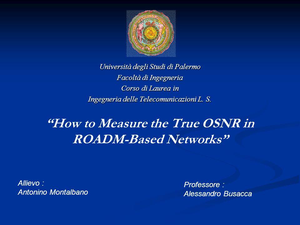 ROADM-Based Networks ROADMs ROADMs Rete DWDM Riconfigurabile Rete DWDM Riconfigurabile Reti basate su ROADM Reti basate su ROADM ampia varietà di forme di filtro ampia varietà di forme di filtro e segnali e segnali difficoltà per misurazioni ottiche difficoltà per misurazioni ottiche Optical Signal to Noise Ratio Optical Signal to Noise Ratio (OSNR) BER (OSNR) BER Prima: OSA Adesso: Nuovi Metodi Prima: OSA Adesso: Nuovi Metodi Settore Sanitario Rete DWDM basata su ROADMs