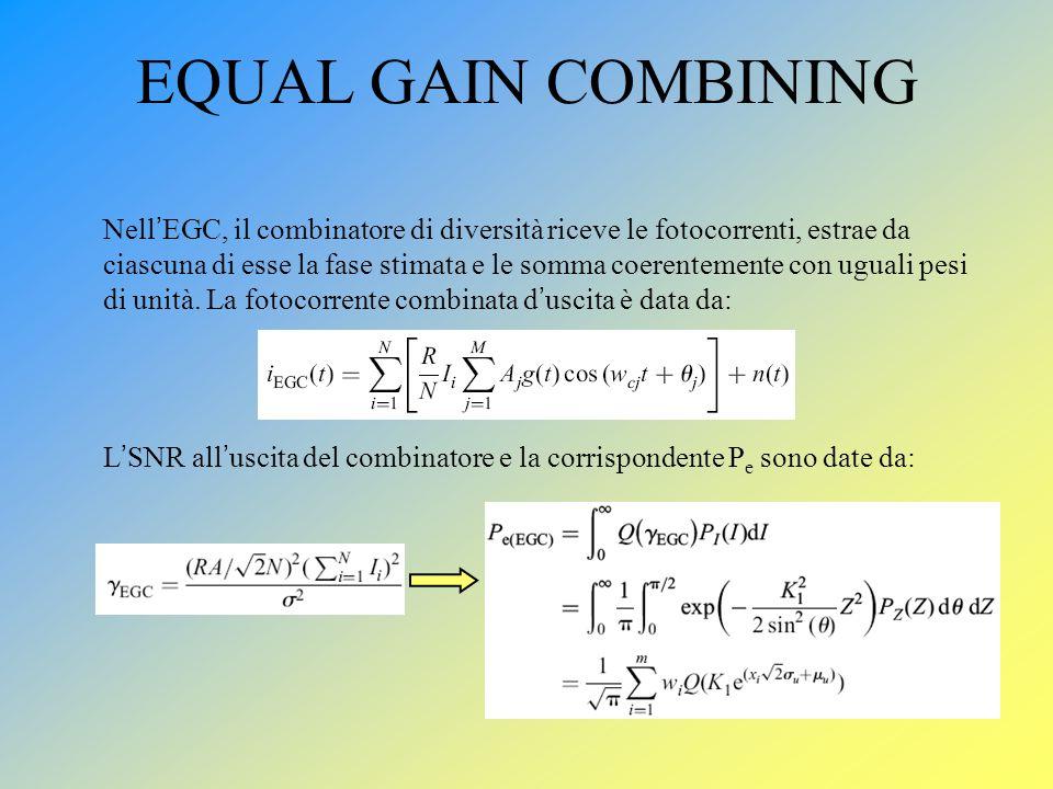 EQUAL GAIN COMBINING Nell EGC, il combinatore di diversità riceve le fotocorrenti, estrae da ciascuna di esse la fase stimata e le somma coerentemente
