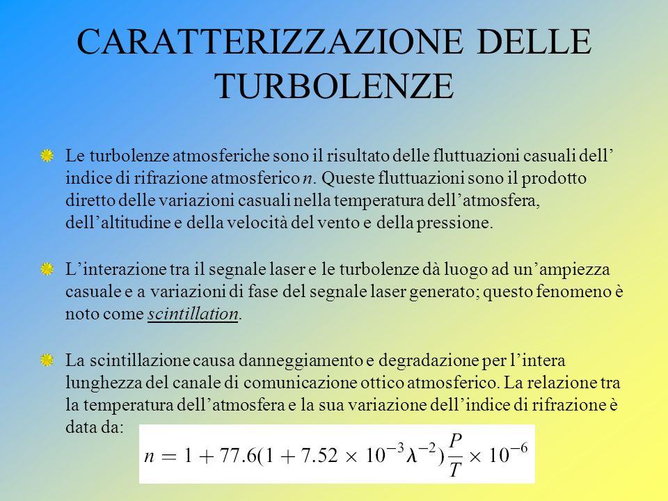 CARATTERIZZAZIONE DELLE TURBOLENZE Le turbolenze atmosferiche sono il risultato delle fluttuazioni casuali dell indice di rifrazione atmosferico n. Qu