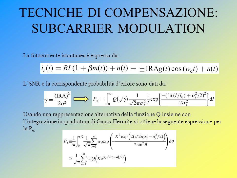 TECNICHE DI COMPENSAZIONE: SUBCARRIER MODULATION La fotocorrente istantanea è espressa da: LSNR e la corrispondente probabilità derrore sono dati da: