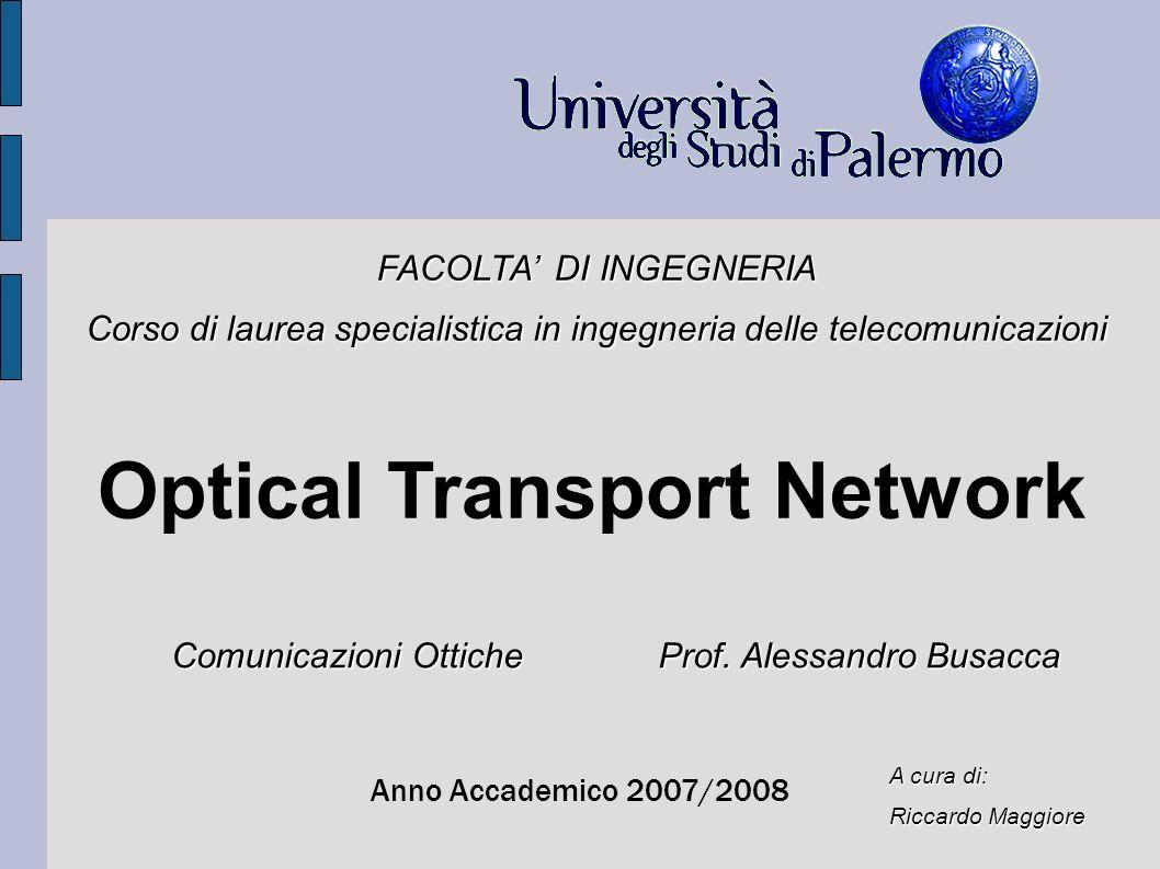 Optical Transport Network Anno Accademico 2007/2008 FACOLTA DI INGEGNERIA Corso di laurea specialistica in ingegneria delle telecomunicazioni A cura d