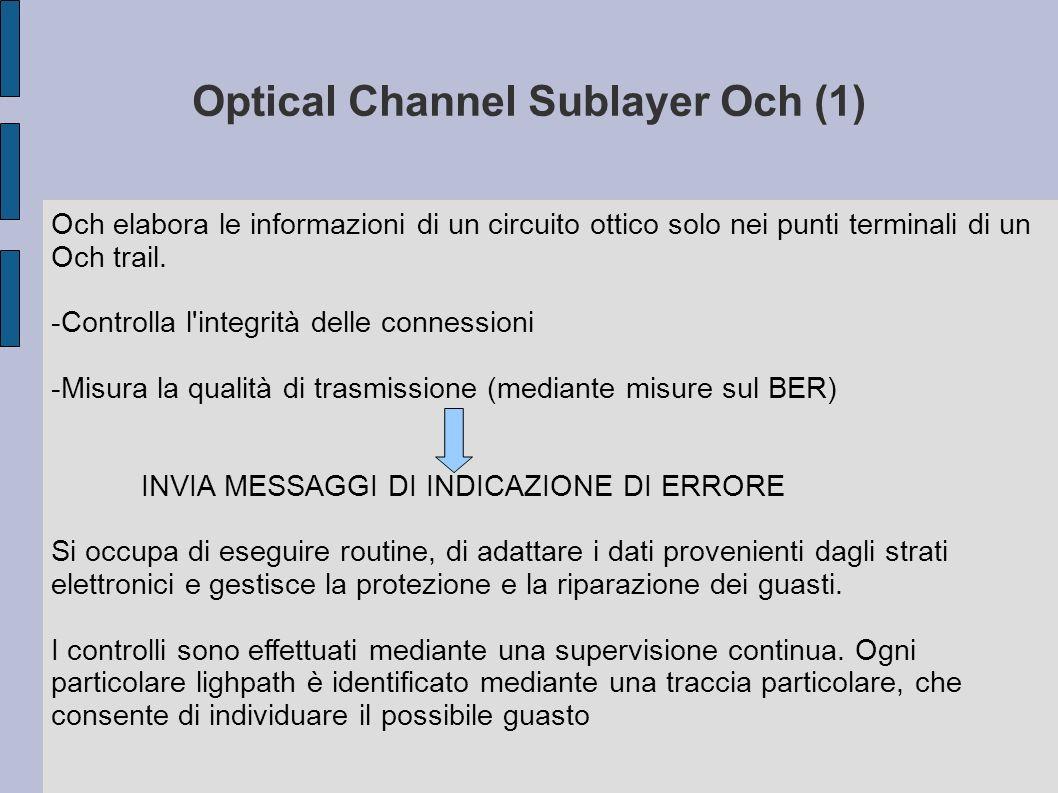 Optical Multiplex Section Sublayer (OMS) Offre la funzionalità per il networking di un segnale ottico a più lunghezze d onda OMS include: -Elaborazione di overhead per la sezione di multiplazione ottica, per garantire l integrità delle informazioni scambiate alla sezione di multiplazione -Supervisione per rendere possibili funzioni di operatività e management alla sezione di multiplazione Le apparecchiature coinvolte sono OXC e OADM Il protocollo OMS opera alle terminazioni di un percorso denominato OMS trail ( da multiplatore a multiplatore), controlla la qualità della trasmissione alla ricerca di guasti per garantire l invio di messaggi di indicazione di errore