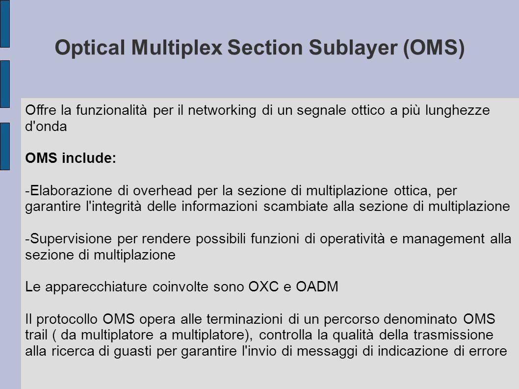 Optical Multiplex Section Sublayer (OMS) Offre la funzionalità per il networking di un segnale ottico a più lunghezze d'onda OMS include: -Elaborazion