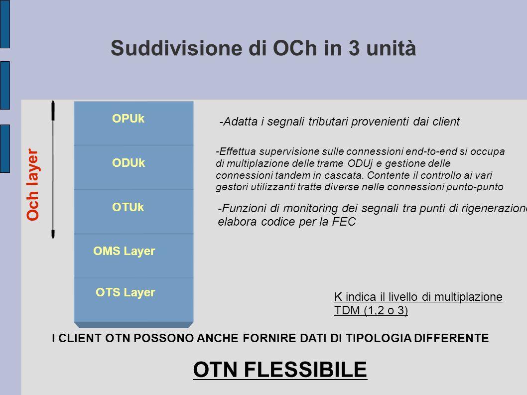 Suddivisione di OCh in 3 unità Och layer OPUk ODUk OTUk OMS Layer OTS Layer I CLIENT OTN POSSONO ANCHE FORNIRE DATI DI TIPOLOGIA DIFFERENTE OTN FLESSI