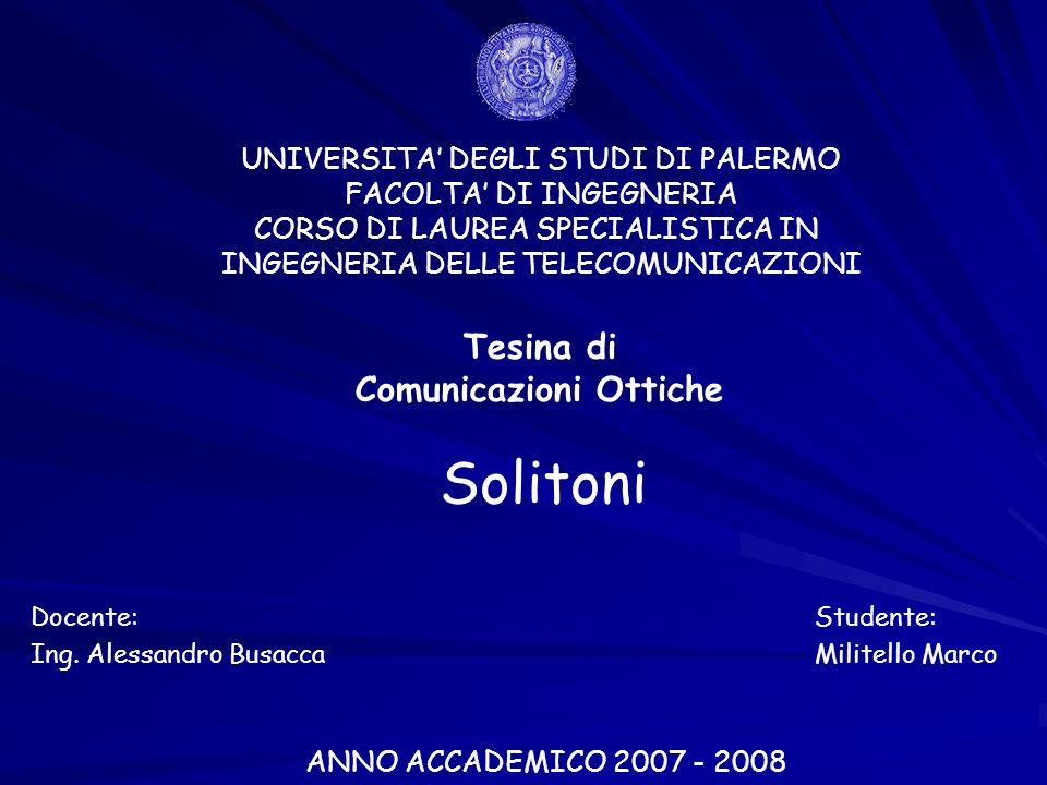 UNIVERSITA DEGLI STUDI DI PALERMO FACOLTA DI INGEGNERIA CORSO DI LAUREA SPECIALISTICA IN INGEGNERIA DELLE TELECOMUNICAZIONI Tesina di Comunicazioni Ottiche Studente: Militello Marco ANNO ACCADEMICO 2007 - 2008 Solitoni Docente: Ing.