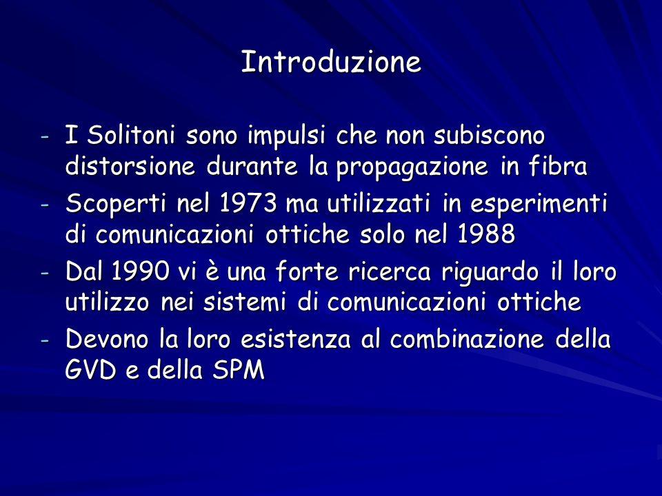 Introduzione - I Solitoni sono impulsi che non subiscono distorsione durante la propagazione in fibra - Scoperti nel 1973 ma utilizzati in esperimenti di comunicazioni ottiche solo nel 1988 - Dal 1990 vi è una forte ricerca riguardo il loro utilizzo nei sistemi di comunicazioni ottiche - Devono la loro esistenza al combinazione della GVD e della SPM