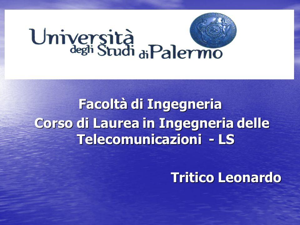 Facoltà di Ingegneria Corso di Laurea in Ingegneria delle Telecomunicazioni - LS Corso di Laurea in Ingegneria delle Telecomunicazioni - LS Tritico Leonardo Tritico Leonardo