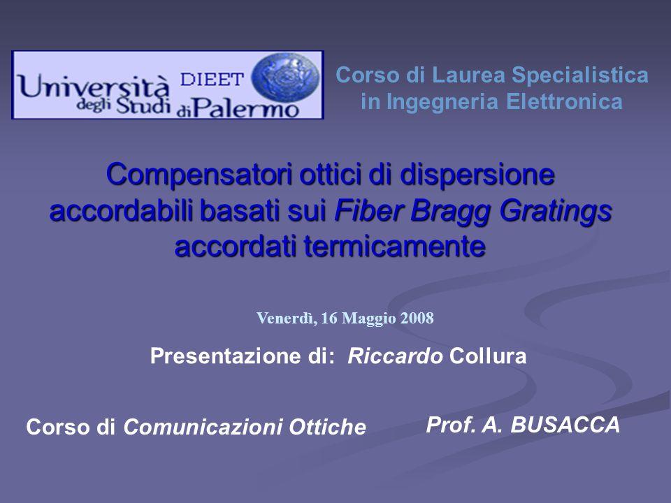 Corso di Laurea Specialistica in Ingegneria Elettronica Presentazione di: Riccardo Collura Venerdì, 16 Maggio 2008 Corso di Comunicazioni Ottiche Prof