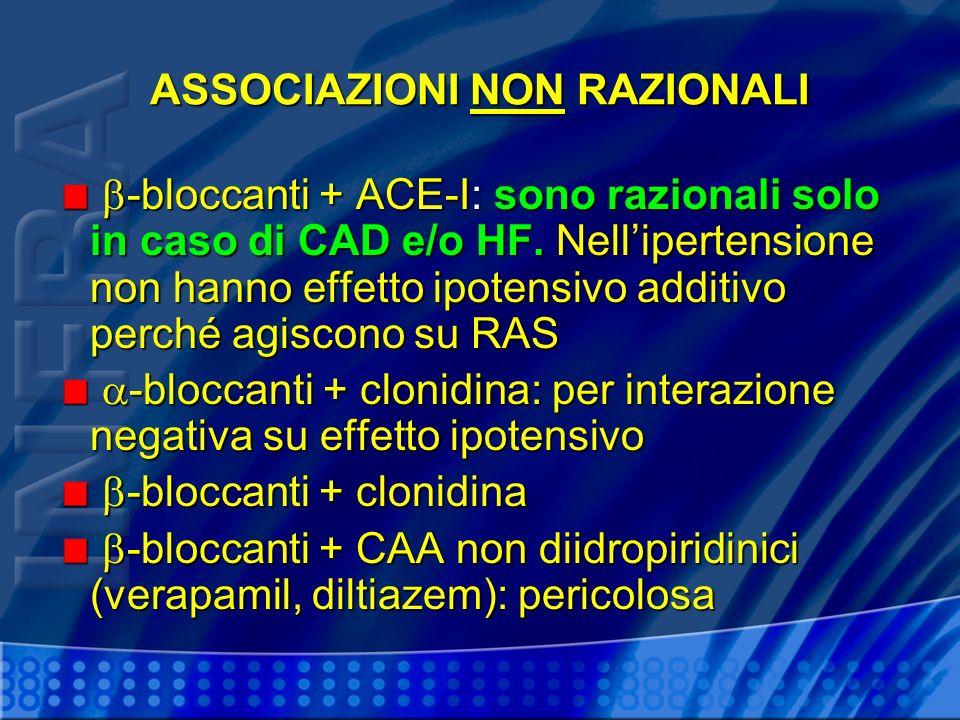 ASSOCIAZIONI NON RAZIONALI -bloccanti + ACE-I: sono razionali solo in caso di CAD e/o HF. Nellipertensione non hanno effetto ipotensivo additivo perch