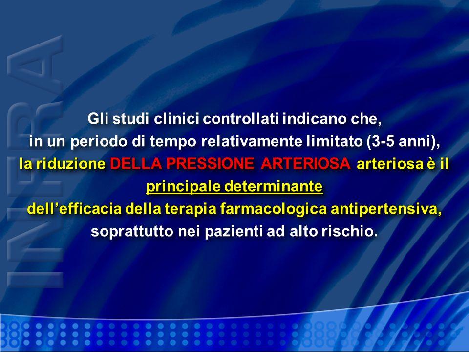 la riduzione DELLA PRESSIONE ARTERIOSA arteriosa è il principale determinante dellefficacia della terapia farmacologica antipertensiva, Gli studi clin