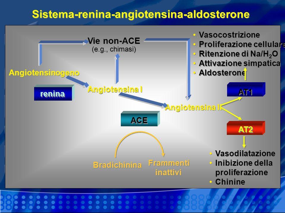 Sistema-renina-angiotensina-aldosterone Angiotensinogeno Vie non-ACE (e.g., chimasi) Vasocostrizione Proliferazione cellulare Ritenzione di Na/H 2 O A