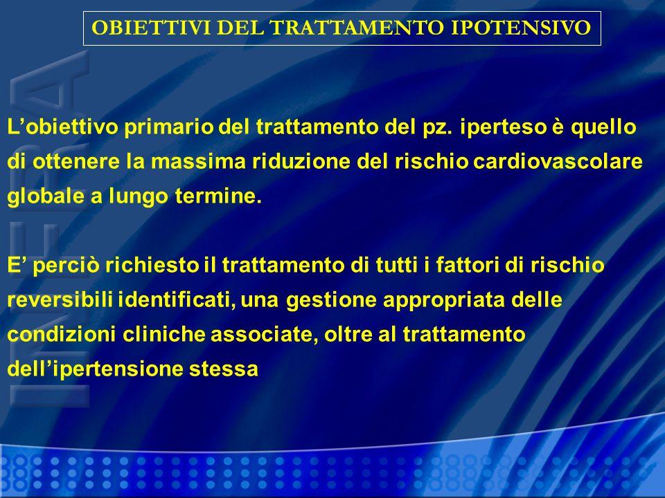 OBIETTIVI DEL TRATTAMENTO IPOTENSIVO Lobiettivo primario del trattamento del pz. iperteso è quello di ottenere la massima riduzione del rischio cardio