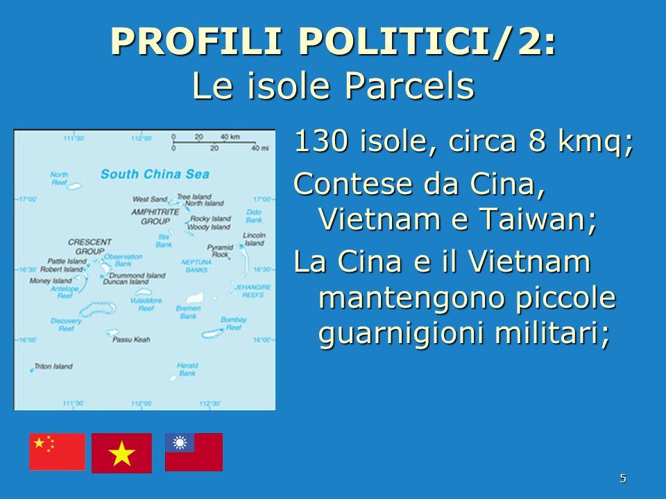 PROFILI POLITICI/2: Le isole Parcels 130 isole, circa 8 kmq; Contese da Cina, Vietnam e Taiwan; La Cina e il Vietnam mantengono piccole guarnigioni mi
