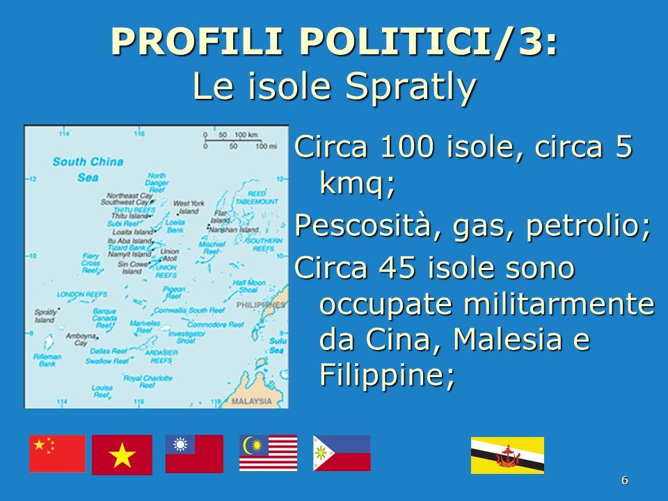 PROFILI POLITICI/3: Le isole Spratly Circa 100 isole, circa 5 kmq; Pescosità, gas, petrolio; Circa 45 isole sono occupate militarmente da Cina, Malesi