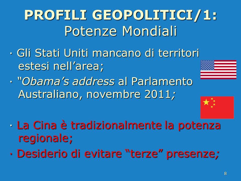 PROFILI GEOPOLITICI/1: Potenze Mondiali · Gli Stati Uniti mancano di territori estesi nellarea; · Obamas address al Parlamento Australiano, novembre 2