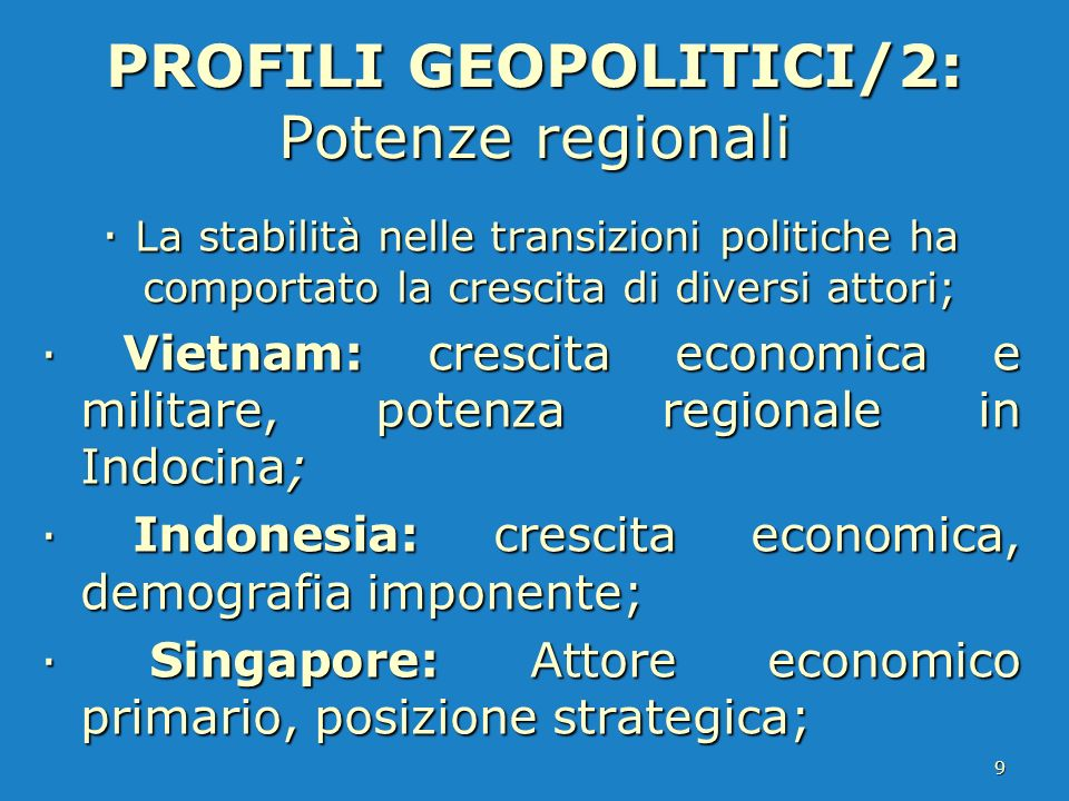 PROFILI GEOPOLITICI/2: Potenze regionali · La stabilità nelle transizioni politiche ha comportato la crescita di diversi attori; · Vietnam: crescita e