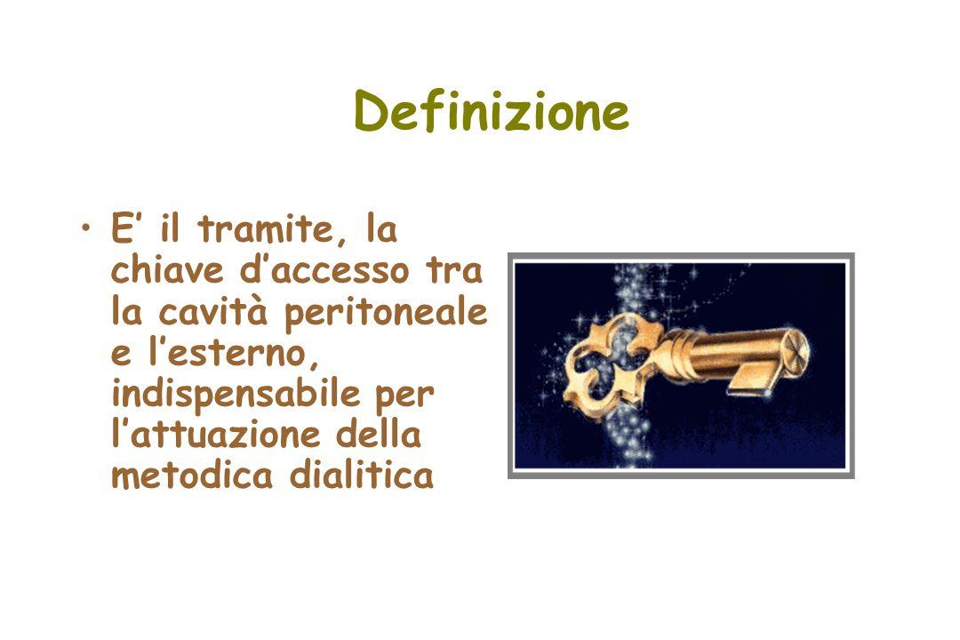 Definizione E il tramite, la chiave daccesso tra la cavità peritoneale e lesterno, indispensabile per lattuazione della metodica dialitica