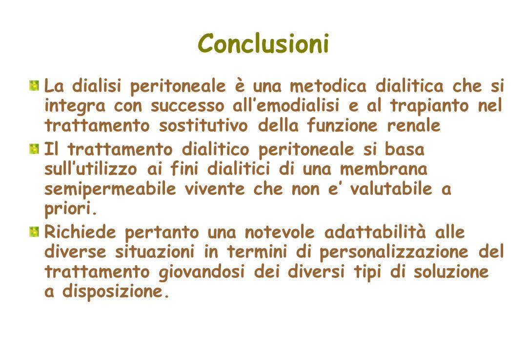 Conclusioni La dialisi peritoneale è una metodica dialitica che si integra con successo allemodialisi e al trapianto nel trattamento sostitutivo della