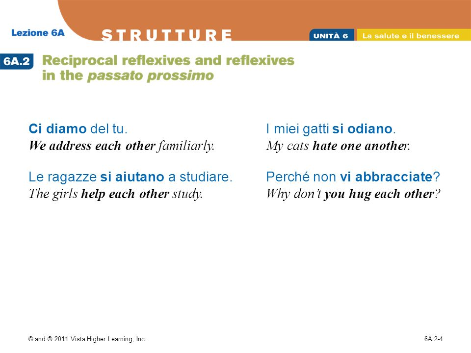 © and ® 2011 Vista Higher Learning, Inc.6A.2-5 Note that the use of reciprocal verbs can be ambiguous.