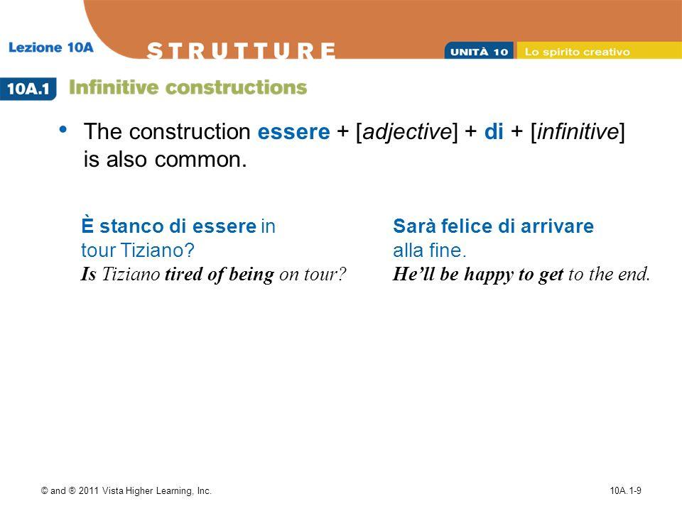 © and ® 2011 Vista Higher Learning, Inc.10A.1-10 1.Nino prova (a / di) finire il libro prima di cena.