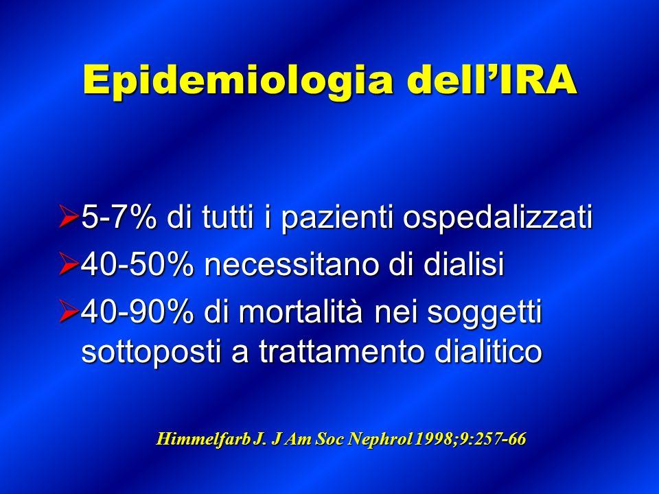 Epidemiologia dellIRA 5-7% di tutti i pazienti ospedalizzati 5-7% di tutti i pazienti ospedalizzati 40-50% necessitano di dialisi 40-50% necessitano d