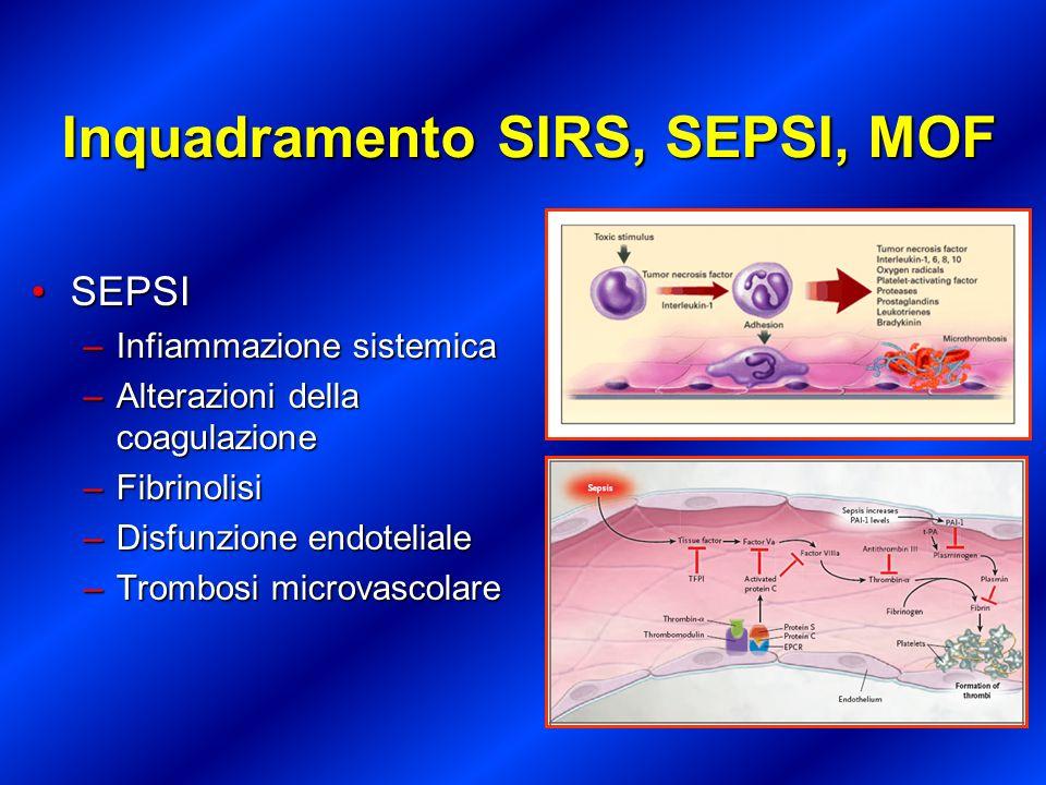 Inquadramento SIRS, SEPSI, MOF SEPSISEPSI –Alterazione coscienza –Confusione mentale e/o psicosi –Ipotensione (PAS <90) –Tachicardia (FC >100) –PaO 2 < 70 –SaO 2 < 90% –PaO 2 /FiO 2 < 300 –Aumento CVP e PAOP –Oliguria, anuria, aumento ritentivi –Indice di shock: FC/PAS <0.9