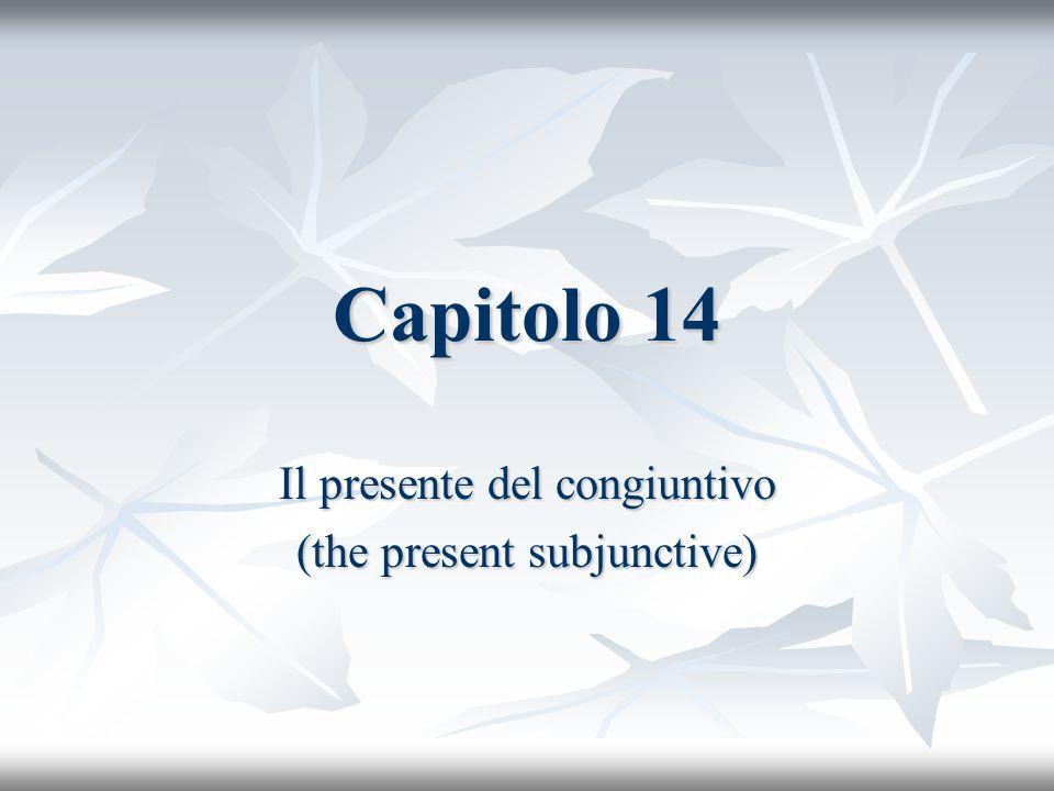 Capitolo 14 Il presente del congiuntivo (the present subjunctive)