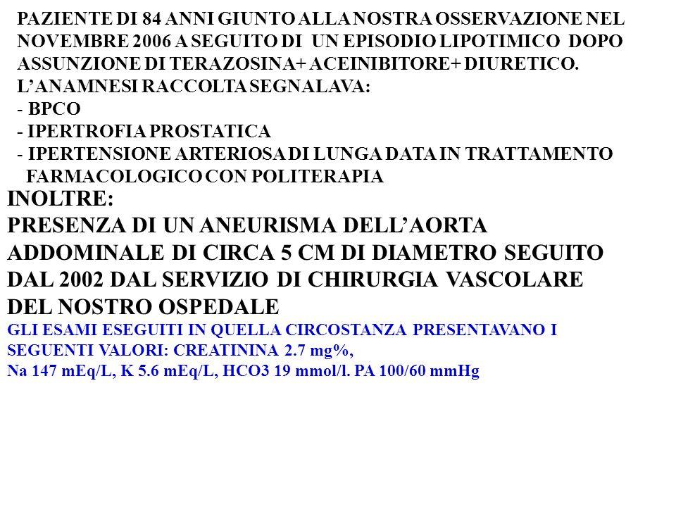 PAZIENTE DI 84 ANNI GIUNTO ALLA NOSTRA OSSERVAZIONE NEL NOVEMBRE 2006 A SEGUITO DI UN EPISODIO LIPOTIMICO DOPO ASSUNZIONE DI TERAZOSINA+ ACEINIBITORE+ DIURETICO.