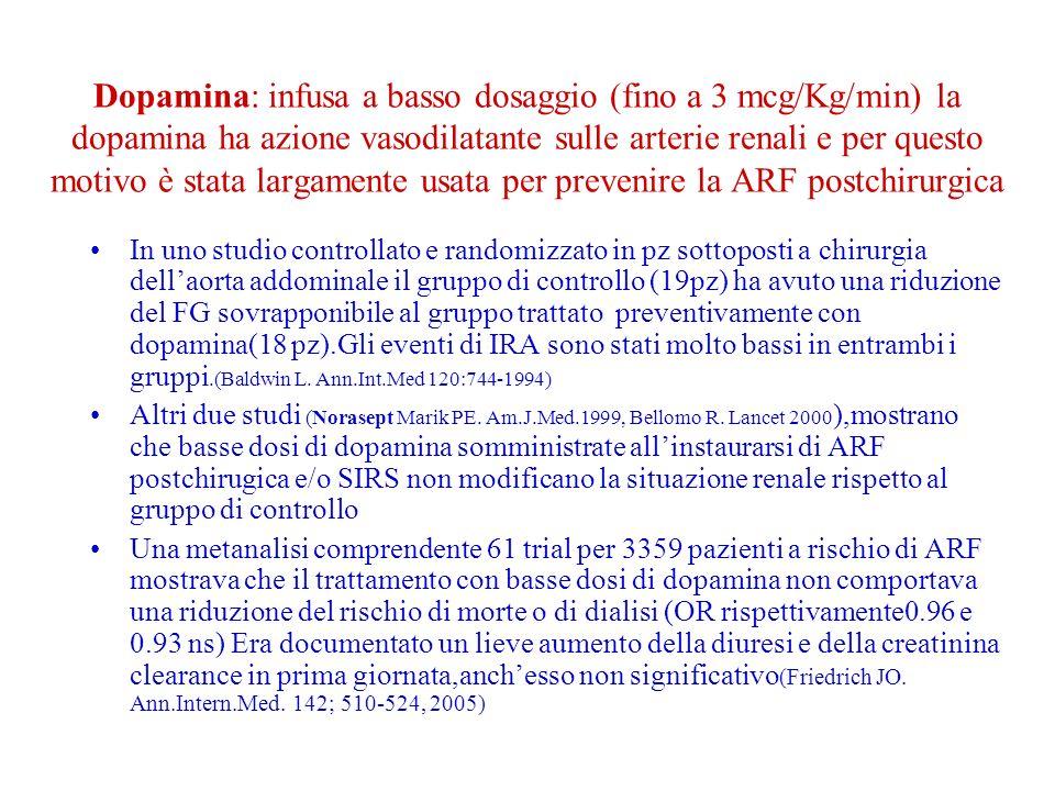 Dopamina: infusa a basso dosaggio (fino a 3 mcg/Kg/min) la dopamina ha azione vasodilatante sulle arterie renali e per questo motivo è stata largamente usata per prevenire la ARF postchirurgica In uno studio controllato e randomizzato in pz sottoposti a chirurgia dellaorta addominale il gruppo di controllo (19pz) ha avuto una riduzione del FG sovrapponibile al gruppo trattato preventivamente con dopamina(18 pz).Gli eventi di IRA sono stati molto bassi in entrambi i gruppi.(Baldwin L.