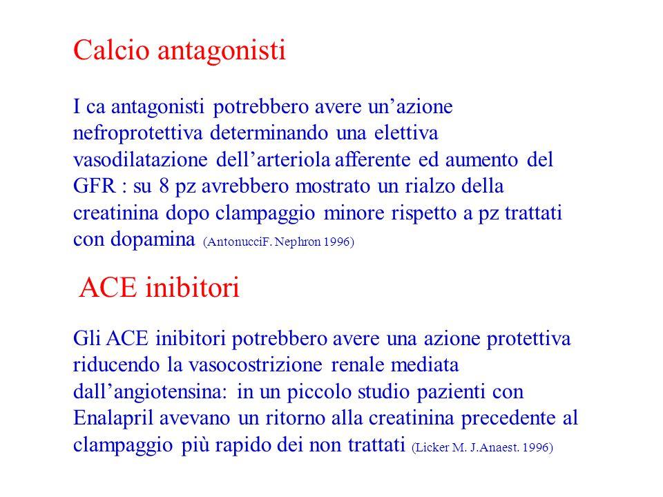 Calcio antagonisti I ca antagonisti potrebbero avere unazione nefroprotettiva determinando una elettiva vasodilatazione dellarteriola afferente ed aumento del GFR : su 8 pz avrebbero mostrato un rialzo della creatinina dopo clampaggio minore rispetto a pz trattati con dopamina (AntonucciF.