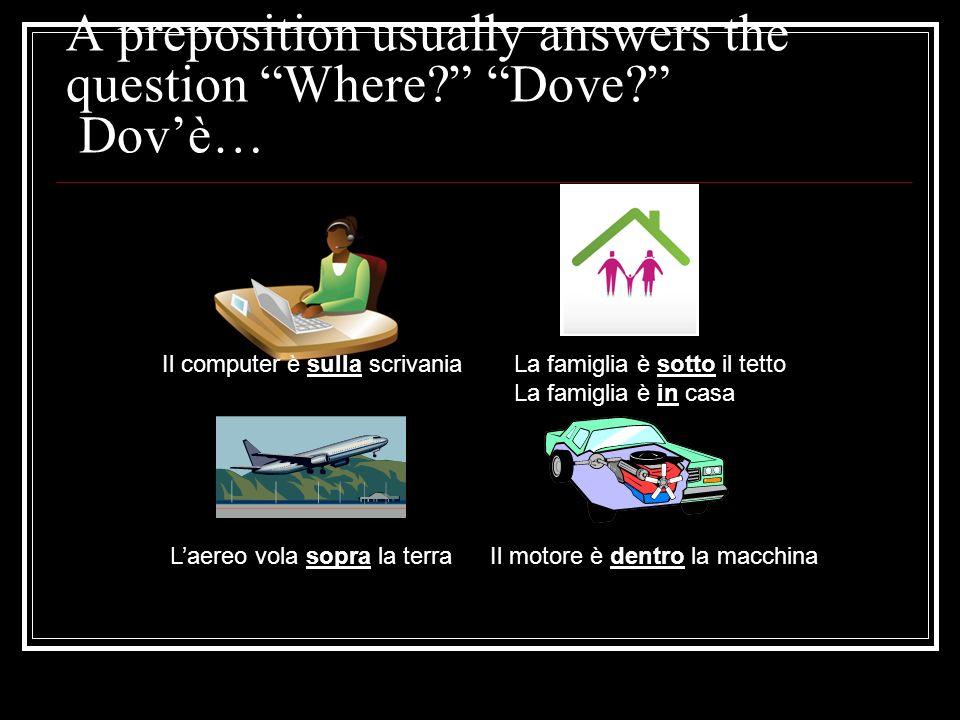A preposition usually answers the question Where? Dove? Dovè… Il computer è sulla scrivaniaLa famiglia è sotto il tetto La famiglia è in casa Laereo v
