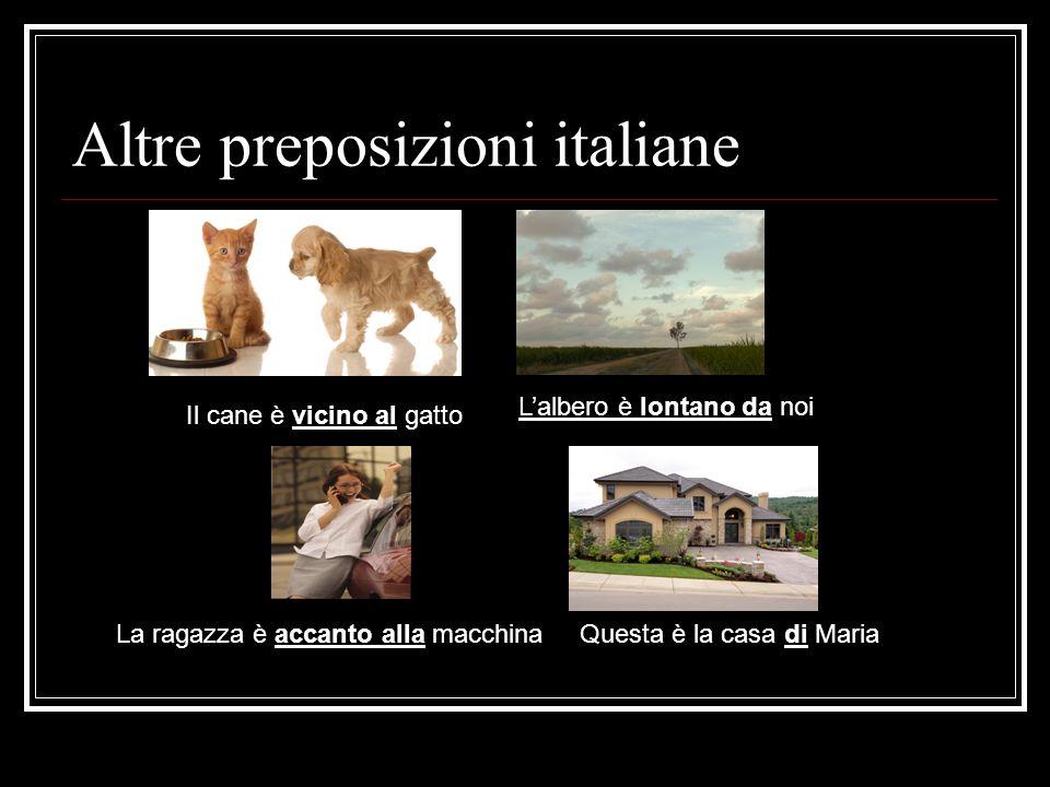 Altre preposizioni italiane Il cane è vicino al gatto Lalbero è lontano da noi La ragazza è accanto alla macchinaQuesta è la casa di Maria