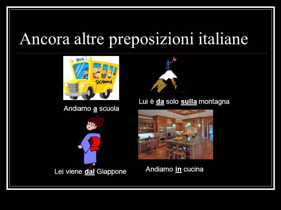 Ancora altre preposizioni italiane Andiamo a scuola Lui è da solo sulla montagna Lei viene dal Giappone Andiamo in cucina