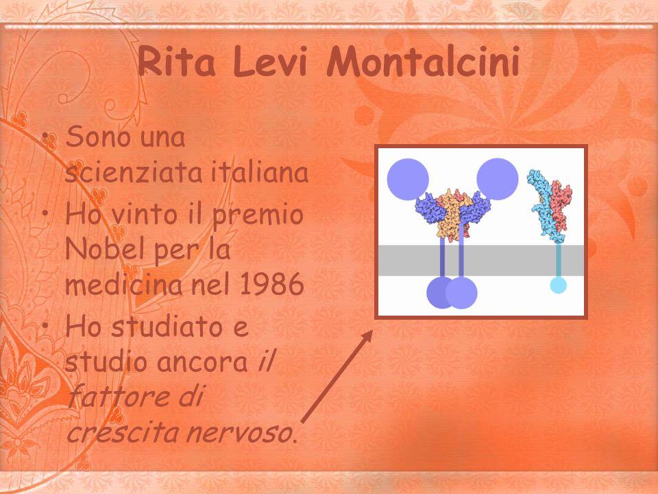 Rita Levi Montalcini Sono una scienziata italiana Ho vinto il premio Nobel per la medicina nel 1986 Ho studiato e studio ancora il fattore di crescita