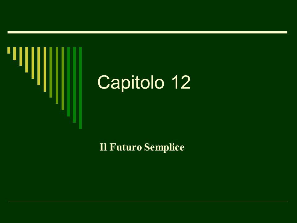 Capitolo 12 Il Futuro Semplice