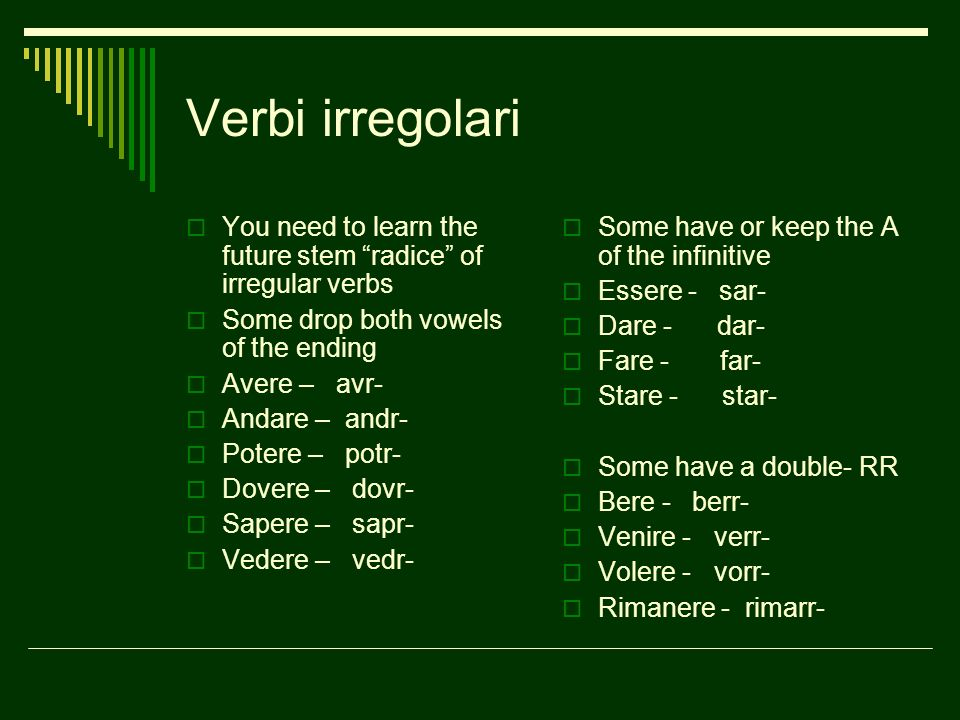 Verbi irregolari You need to learn the future stem radice of irregular verbs Some drop both vowels of the ending Avere – avr- Andare – andr- Potere –