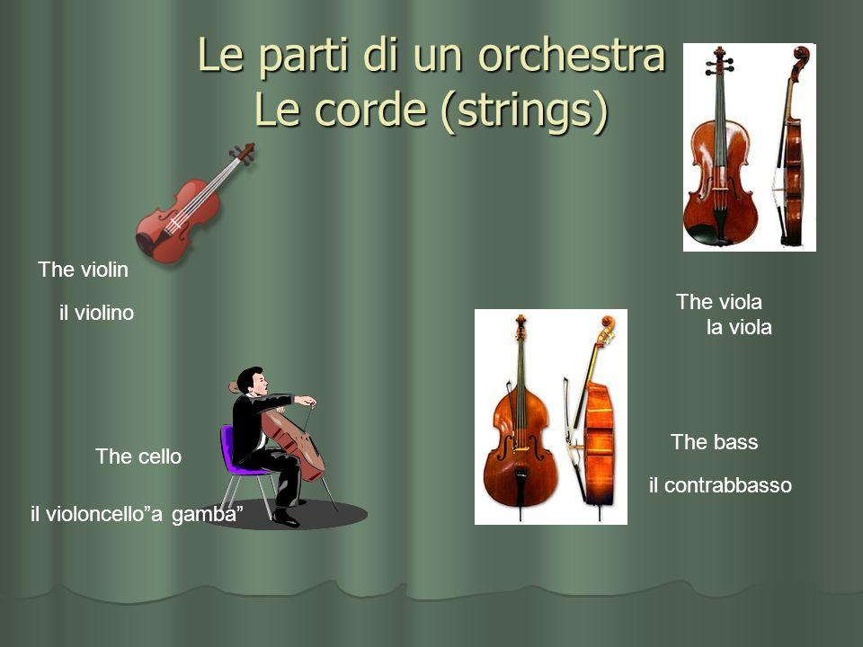 Le parti di un orchestra Le corde (strings) The violin il violino The viola la viola The cello il violoncelloa gamba The bass il contrabbasso