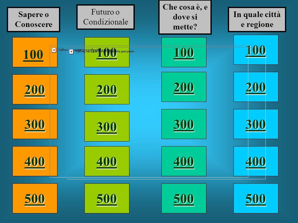 100 200 400 300 400 Sapere o Conoscere Futuro o Condizionale Che cosa è, e dove si mette.