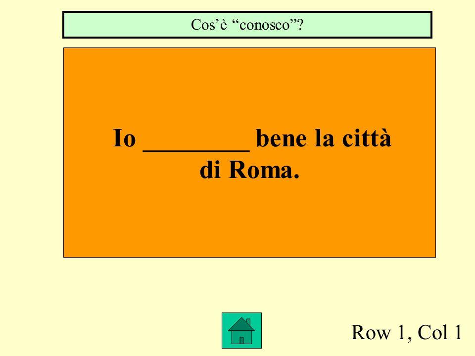 Row 1, Col 1 Io ________ bene la città di Roma. Cosè conosco?