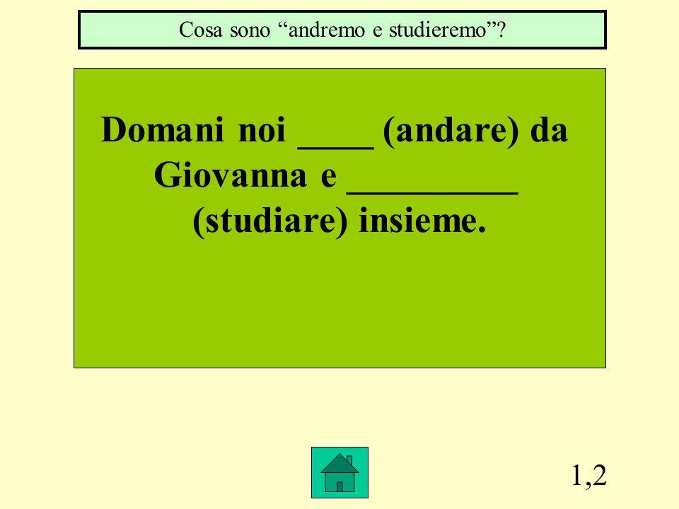 1,2 Domani noi ____ (andare) da Giovanna e _________ (studiare) insieme.