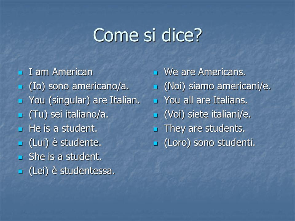 Come si dice.I am American I am American (Io) sono americano/a.