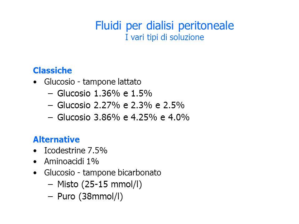Fluidi per dialisi peritoneale I vari tipi di soluzione Classiche Glucosio - tampone lattato –Glucosio 1.36% e 1.5% –Glucosio 2.27% e 2.3% e 2.5% –Glucosio 3.86% e 4.25% e 4.0% Alternative Icodestrine 7.5% Aminoacidi 1% Glucosio - tampone bicarbonato –Misto (25-15 mmol/l) –Puro (38mmol/l)