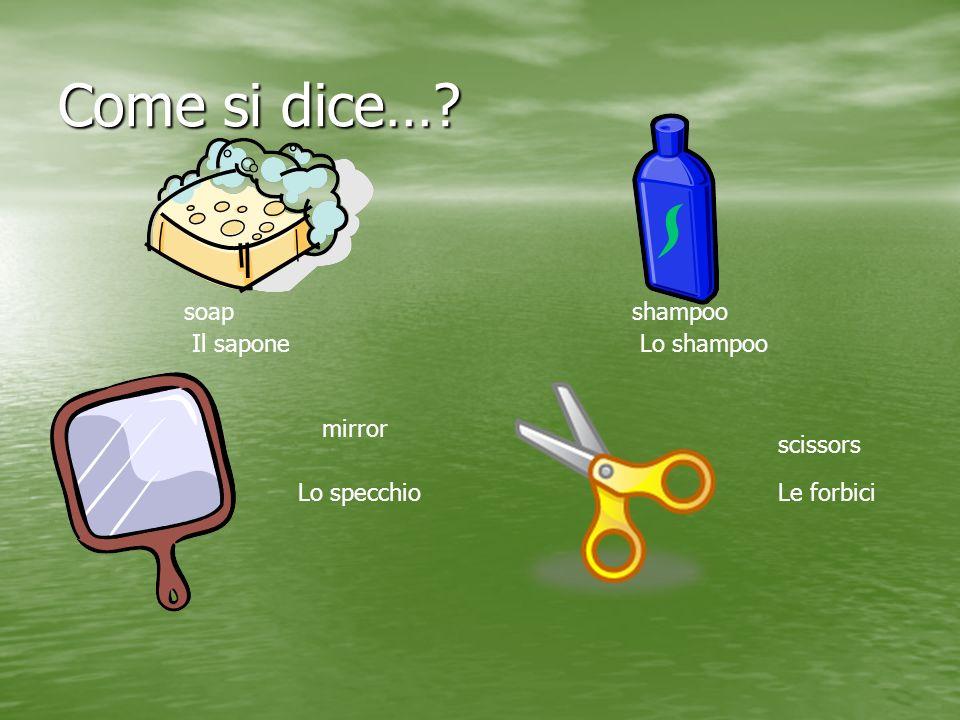 Come si dice…? soap Il sapone shampoo Lo shampoo mirror Lo specchio scissors Le forbici