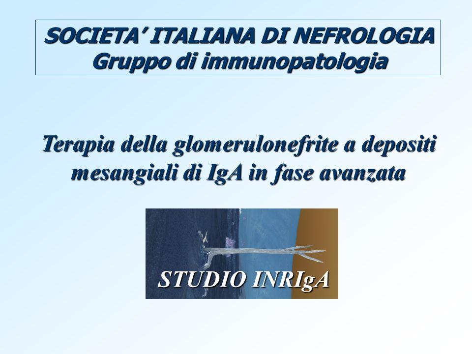 SOCIETA ITALIANA DI NEFROLOGIA Gruppo di immunopatologia Terapia della glomerulonefrite a depositi mesangiali di IgA in fase avanzata STUDIO INRIgA