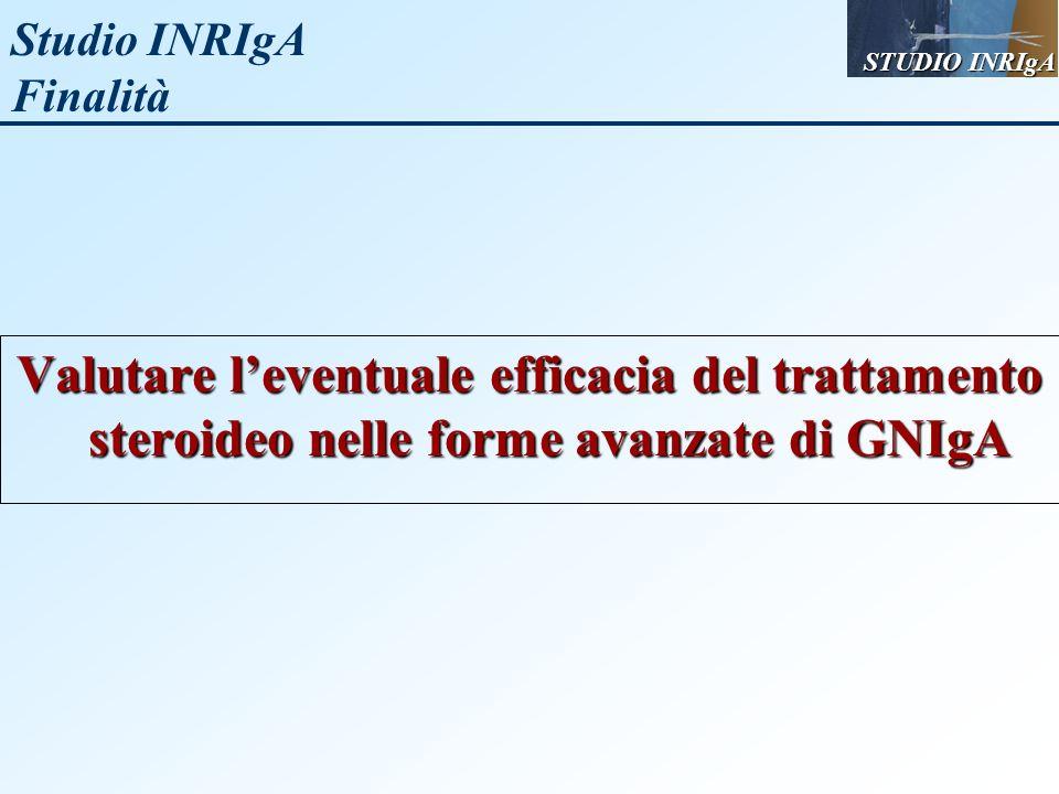 Studio INRIgA Finalità Valutare leventuale efficacia del trattamento steroideo nelle forme avanzate di GNIgA STUDIO INRIgA