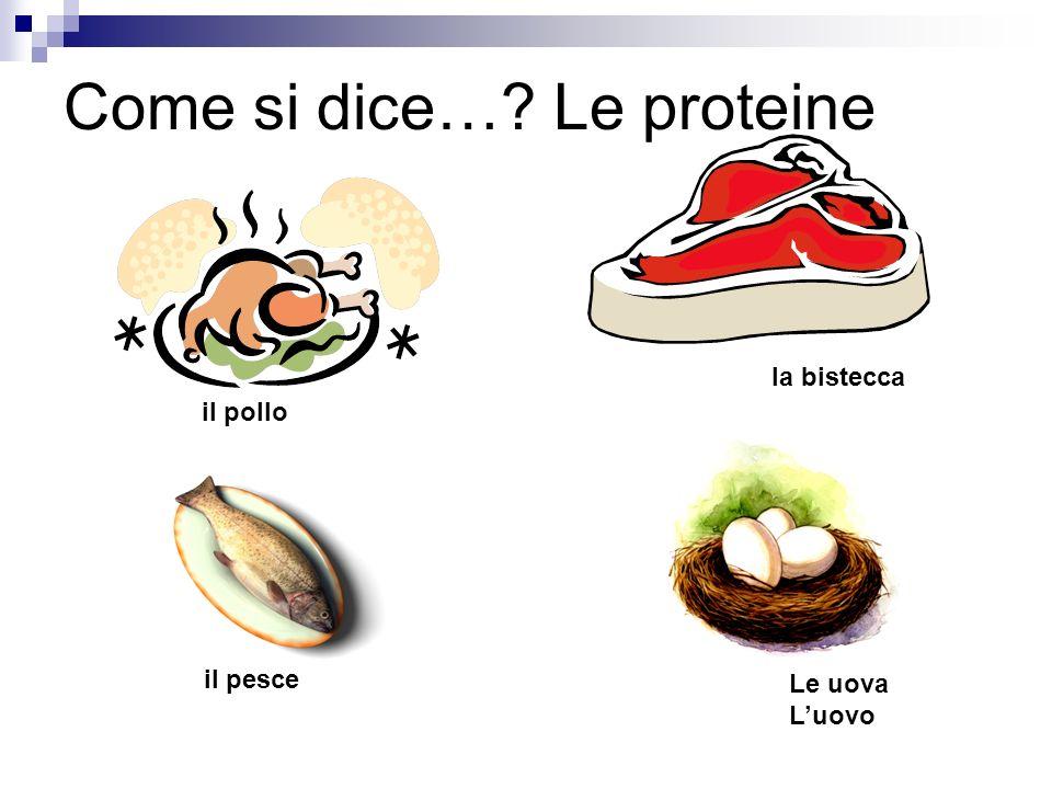 Come si dice…? Le proteine il pollo la bistecca il pesce Le uova Luovo
